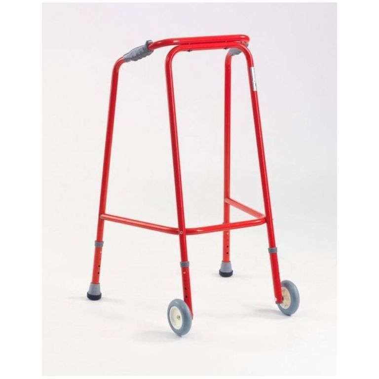 SMM008R-Ultra Narrow Med. Wheeled Walking Frame in Red